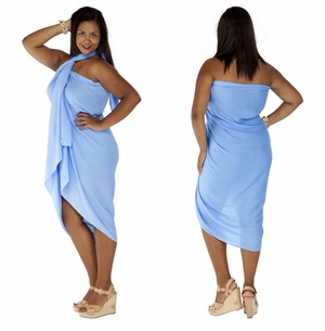"""Light Blue"" Solid Sarong PLUS SIZE"
