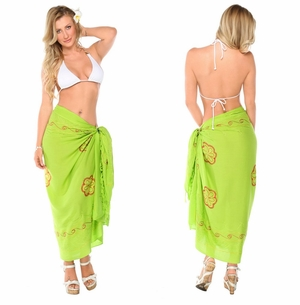 Light Green Sarong w/ Triple Embroidery