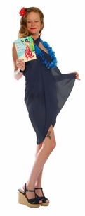 Light Weight Cotton Fringeless Sarong in Navy Blue