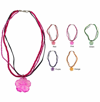"""Mother of Pearl Beaded Necklace 16"""" - Set of 6 Assorted"""