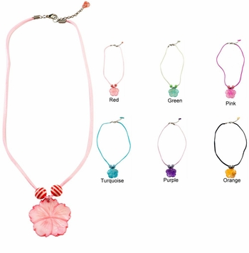 Mother of Pearl Hibiscus Charm Necklace 16 - Set of 6