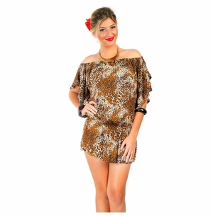 Off the Shoulder Feline Animal Print Cover-Up Tunic Short Dress