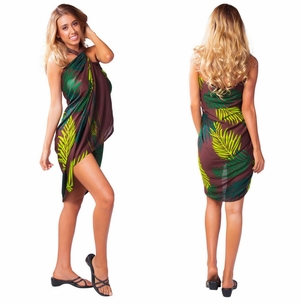 Palm Sarong in Brown FRINGELESS