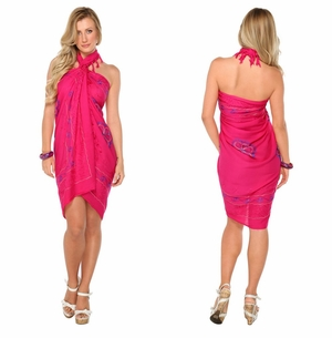 Pink Sarong w/ Triple Embroidery