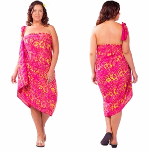 "Plus Size Abstract Floral Sarong ""Electric Love"" Pink and Yellow"