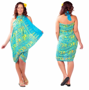 """Plus Size Abstract Floral Sarong """"Tropical Summer"""" Turquoise and Yellow"""