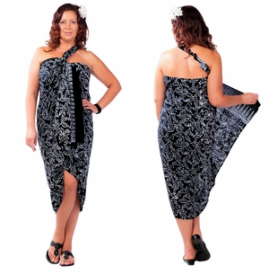 Plus Size Fringeless Abstract Floral Sarong in Black