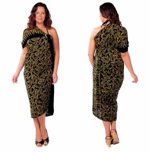 Plus Size Fringeless Abstract Floral Sarong in Gold/Black