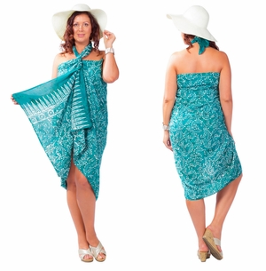Plus Size Fringeless Abstract Floral Sarong in Green