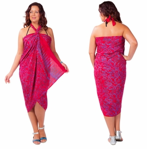 Plus Size Fringeless Abstract Floral Sarong in Red