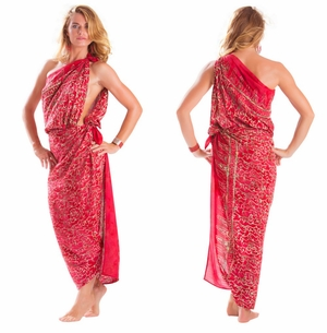 Plus Size Fringeless Abstract Scrolls Sarong in Red