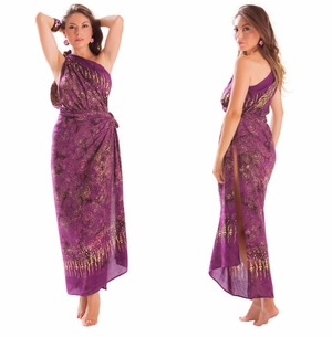 Plus Size Fringeless Abstract Swirl Sarong in Purple
