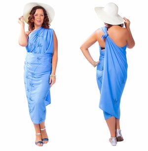Plus Sized Sarong Bamboo Light Blue Fringeless