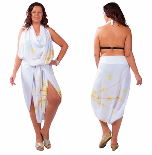 "Plus Sized Sarong Bamboo ""White"" Fringeless"