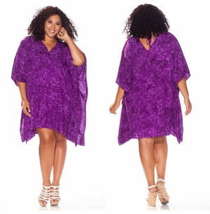 Purple Floral Poncho Cover Up with V-Neck