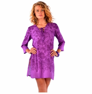 Purple Floral Tunic Cover-Up