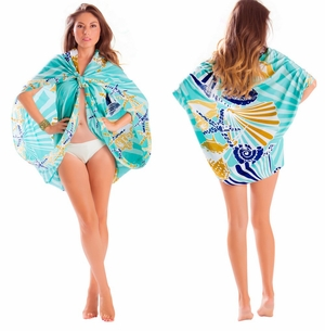 Seashell Sarong in Teal and Orange