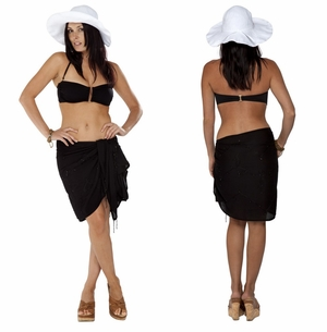 Sequined / Embroidered / Beaded HALF Sarong Black