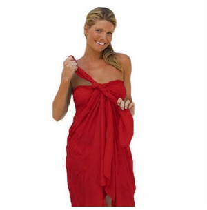 """Sequined / Embroidered / Beaded Sarong """"Red"""""""