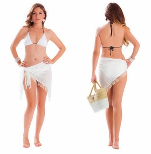 Sheer Sarong with Full Lace Detail in Cream