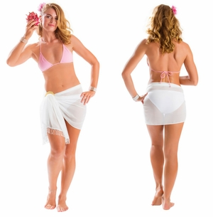 Sheer Sarong with Lace Detail in Cream
