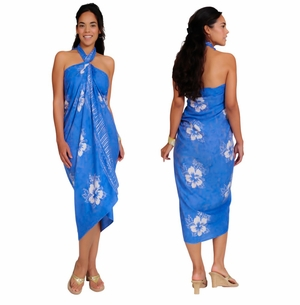 Smoked Hibiscus Sarong in Blue