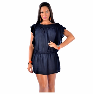 Solid Black Cover-Up Short Dress