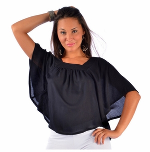 Solid Black Cover-Up Square Neck Top