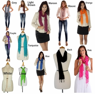 Solid Colored Gauze Scarves (6 per package)