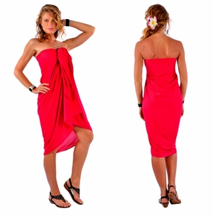 Solid Hot Red Sarong FRINGELESS
