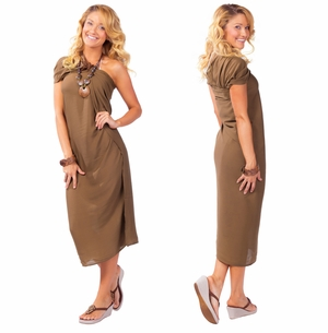 Solid Light Brown FRINGELESS Sarong