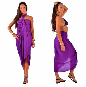 Solid Purple Sarong FRINGELESS
