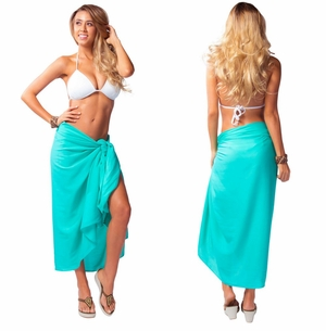 Solid Sea Green Sarong FRINGELESS