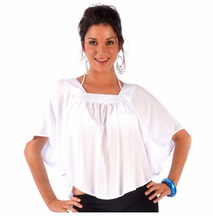 Solid White Cover-Up Square Neck Top