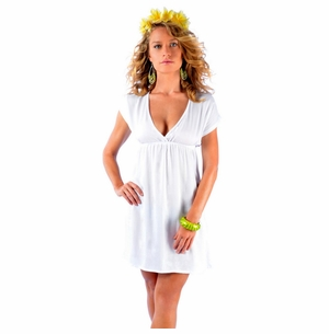 Solid White Deep V-Neck Cover-Up Short Dress