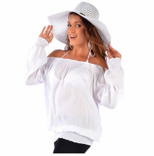 Solid White Long Sleeve Top Cover-Up