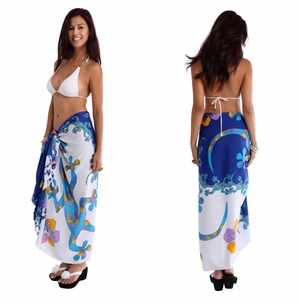 Split Color Gecko Sarong in Royal Blue