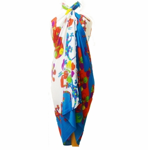 Split Color Gecko Sarong in Turquoise