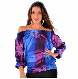 Tdye Blue /Purple Top Elastic Cover-Up
