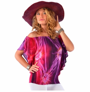 Tie Dye Cover-Up Top with Elastic Off The Shoulder Design in Red/Purple/Pink