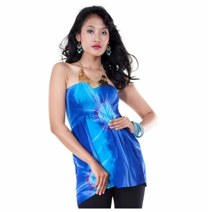 Tie Dye Strapless Cover-Up Top in Blue