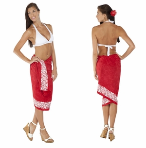 Top Quality Celtic Tribal Border Sarong Red  FRINGELESS
