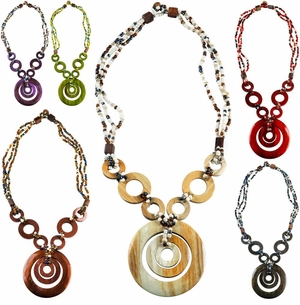 Triple Bead String Necklace with Triple Round Wooden Pendant (Set of 6)
