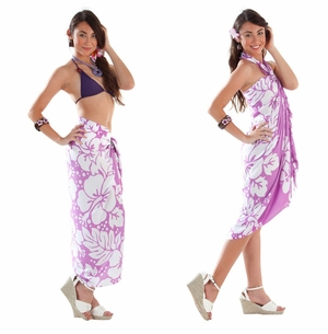 Triple Lei Sarong in Light Purple/White