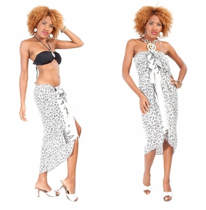 Tropical Bamboo Floral Sarong in White
