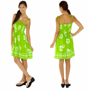 Tube Top Sundress Hibiscus Design in Lime Green / White