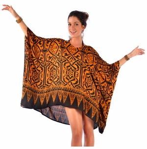 V-Neck Abstract Black and Gold Print Tunic Poncho Cover-Up