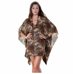 V-Neck Animal Print Tunic Poncho Cover-Up