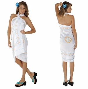 White Sarong w/ Triple Embroidery