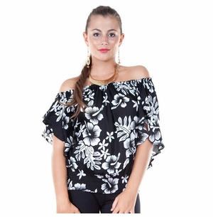 Womens Off The Shoulder Hibiscus Black/White Elastic Top Cover-Up